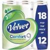 Velvet Comfort Toilet Rolls 116x104.5mm 210 Sheets 24.4m 2-ply White Ref 1102048 [Pack 18]