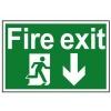 Fire Exit Running Man Arrow Down - PVC 300 x 200mm